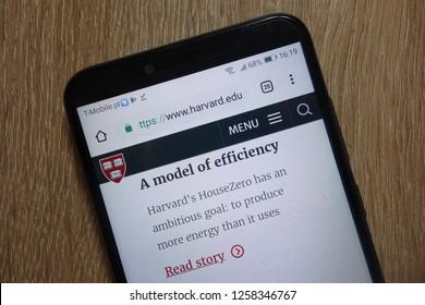 KONSKIE, POLAND - December 09, 2018: Harvard University website (www.harvard.edu) displayed on smartphone