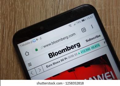 KONSKIE, POLAND - December 09, 2018: Bloomberg L.P. website (www.bloomberg.com) displayed on smartphone