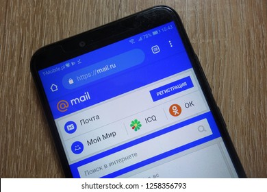 KONSKIE, POLAND - December 09, 2018: Mail.ru website displayed on smartphone