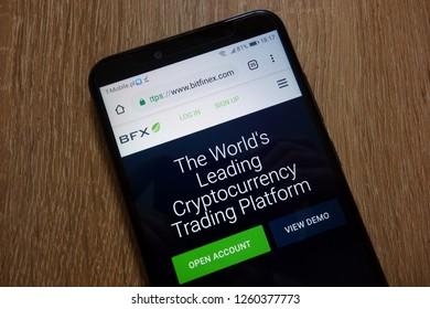 KONSKIE, POLAND - December 16, 2018: Bitfinex cryptocurrency exchange website (www.bitfinex.com) displayed on smartphone