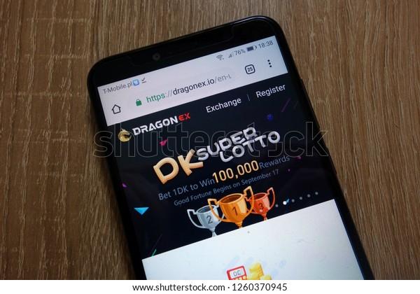 KONSKIE, POLAND - December 16, 2018: Dragonex cryptocurrency exchange website (dragonex.io) displayed on smartphone