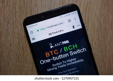 KONSKIE, POLAND - December 28, 2018: Bitmain website (m.bitmain.com)  displayed on smartphone