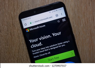 KONSKIE, POLAND - December 28, 2018: Microsoft Azure website (azure.microsoft.com) displayed on smartphone