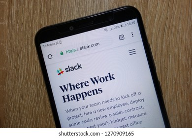 KONSKIE, POLAND - December 28, 2018: Slack website (slack.com)  displayed on smartphone