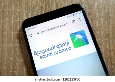 KONSKIE, POLAND - January 10, 2019: Saudi Aramco (Saudi Arabian Oil Company) website (www.saudiaramco.com) displayed on  smartphone