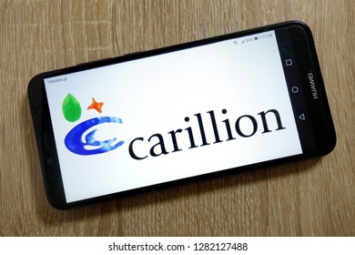 KONSKIE, POLAND - January 10, 2019: Carillion logo displayed on smartphone