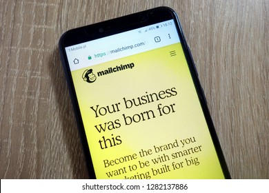 KONSKIE, POLAND - January 10, 2019: Mailchimp website (mailchimp.com) displayed on smartphone