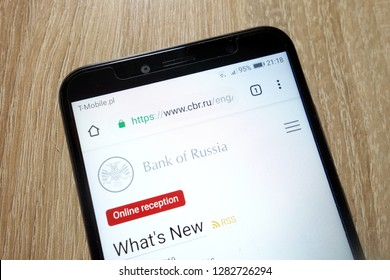 KONSKIE, POLAND - January 11, 2019: Central Bank of Russia website (www.cbr.ru) displayed on Huawei Y6 2018 smartphone
