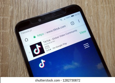 KONSKIE, POLAND - January 11, 2019: TikTok app website (www.tiktok.com) displayed on smartphone