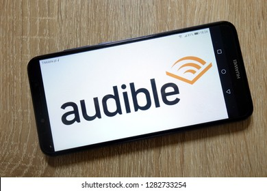 KONSKIE, POLAND - January 11, 2019: Audible store logo displayed on smartphone