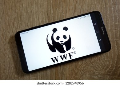 KONSKIE, POLAND - January 11, 2019: World Wide Fund for Nature (WWF) logo displayed on smartphone