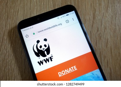 KONSKIE, POLAND - January 11, 2019: World Wide Fund for Nature (WWF) website (www.worldwildlife.org) displayed on smartphone