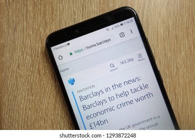 KONSKIE, POLAND - January 22, 2019: Barclays bank website (home.barclays) displayed on smartphone