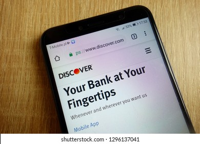 KONSKIE, POLAND - January 25, 2019: Discover Financial Services, Inc.  website (www.discover.com) displayed on smartphone