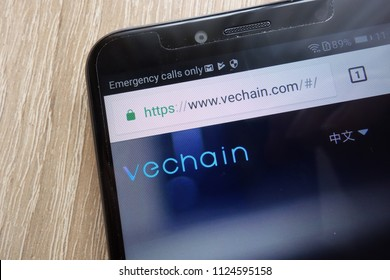 KONSKIE, POLAND - JULY 01, 2018: VeChain (VEN) cryptocurrency website displayed on Huawei Y6 2018 smartphone