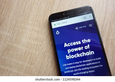 KONSKIE, POLAND - JULY 01, 2018: Lisk (LSK) cryptocurrency website displayed on Huawei Y6 2018 smartphone