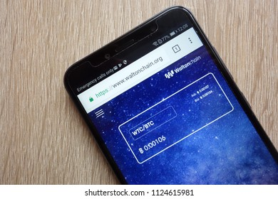 KONSKIE, POLAND - JULY 01, 2018: Waltonchain (WTC) cryptocurrency website displayed on Huawei Y6 2018 smartphone
