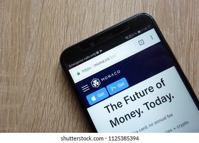 KONSKIE, POLAND - JULY 01, 2018: Monaco (MCO) cryptocurrency website displayed on Huawei Y6 2018 smartphone