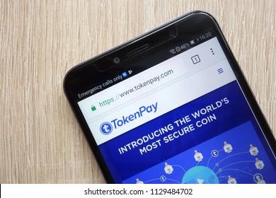 KONSKIE, POLAND - JULY 08, 2018: TokenPay (TPAY) cryptocurrency website displayed on Huawei Y6 2018 smartphone