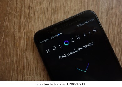 KONSKIE, POLAND - JULY 08, 2018: Holo (HOT) cryptocurrency website displayed on Huawei Y6 2018 smartphone