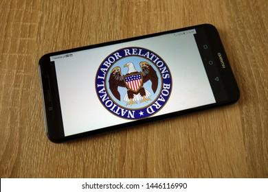 KONSKIE, POLAND - July 08, 2019: National Labor Relations Board - NLRB logo displayed on mobile phone