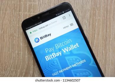 KONSKIE, POLAND - JULY 14, 2018: BitBay (BAY) cryptocurrency website displayed on a modern smartphone