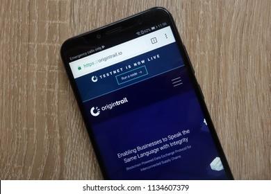 KONSKIE, POLAND - JULY 14, 2018: Origin Trail (TRAC) cryptocurrency website displayed on a modern smartphone