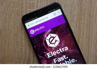 KONSKIE, POLAND - JULY 14, 2018: Electra (ECA) cryptocurrency website displayed on a modern smartphone