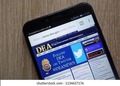 KONSKIE, POLAND - JULY 14, 2018: United States Drug Enforcement Administration (DEA) website displayed on a modern smartphone