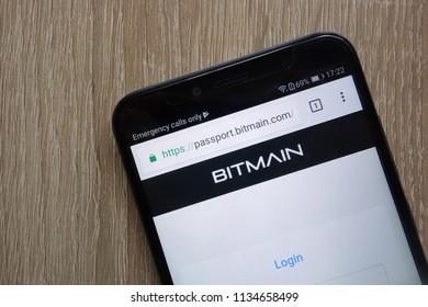 KONSKIE, POLAND - JULY 14, 2018: Bitmain bitcoin mining website displayed on a modern smartphone
