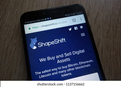 KONSKIE, POLAND - JULY 17, 2018: ShapeShift fintech company website displayed on a modern smartphone