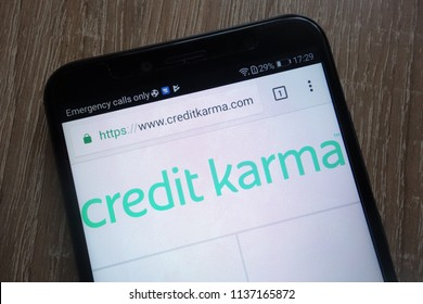 KONSKIE, POLAND - JULY 17, 2018: Credit Karma fintech company website displayed on a modern smartphone