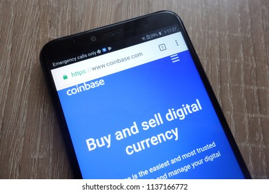 KONSKIE, POLAND - JULY 17, 2018: Coinbase fintech company website displayed on a modern smartphone