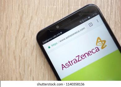 KONSKIE, POLAND - JULY 21, 2018: AstraZeneca company website displayed on a modern smartphone