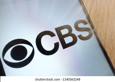KONSKIE, POLAND - JULY 21, 2018: CBS logo displayed on a modern smartphone