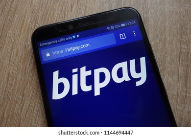 KONSKIE, POLAND - JULY 25, 2018: BitPay website displayed on a modern smartphone
