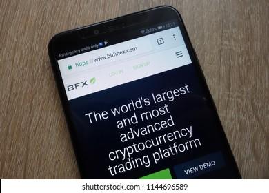 KONSKIE, POLAND - JULY 25, 2018: Bitfinex (BFX) website displayed on a modern smartphone
