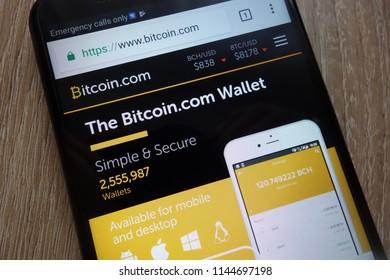 KONSKIE, POLAND - JULY 25, 2018: Bitcoin.com website displayed on a modern smartphone