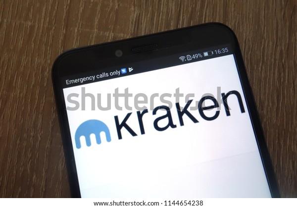KONSKIE, POLAND - JULY 26, 2018: Kraken website displayed on a modern smartphone