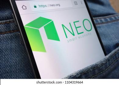 KONSKIE, POLAND - JUNE 01, 2018: NEO cryptocurrency website displayed on smartphone hidden in jeans pocket