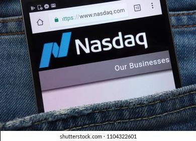 KONSKIE, POLAND - JUNE 01, 2018: Nasdaq website displayed on smartphone hidden in jeans pocket