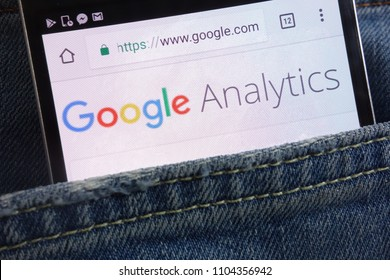 KONSKIE, POLAND - JUNE 01, 2018: Google Analytics website displayed on smartphone hidden in jeans pocket