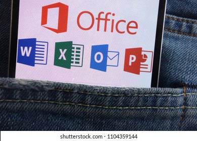 KONSKIE, POLAND - JUNE 01, 2018: Microsoft Office logo displayed on smartphone hidden in jeans pocket