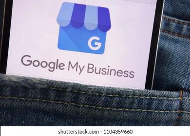 KONSKIE, POLAND - JUNE 01, 2018: Google My Business logo displayed on smartphone hidden in jeans pocket