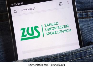 KONSKIE, POLAND - JUNE 01, 2018: ZUS (Polish social security) website displayed on smartphone hidden in jeans pocket