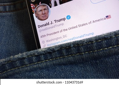 KONSKIE, POLAND - JUNE 01, 2018: Twitter page for Donald Trump displayed on smartphone hidden in jeans pocket