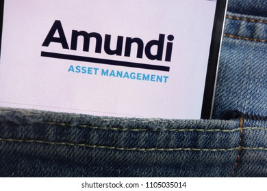 KONSKIE, POLAND - JUNE 01, 2018: Amundi logo displayed on smartphone hidden in jeans pocket