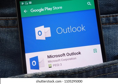 KONSKIE, POLAND - JUNE 02, 2018: Microsoft Outlook app on modern smartphone screen in Google Play Store