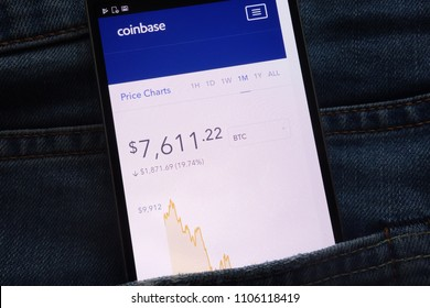 KONSKIE, POLAND - JUNE 02, 2018: Coinbase website with bitcoin price chart displayed on smartphone hidden in jeans pocket
