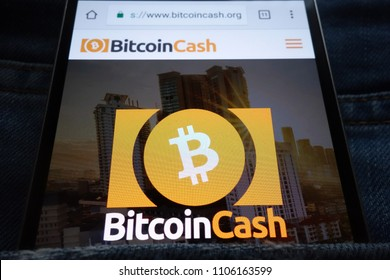 KONSKIE, POLAND - JUNE 02, 2018: Bitcoin Cash cryptocurrency website displayed on smartphone hidden in jeans pocket